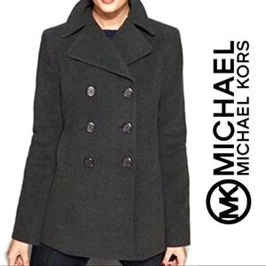 Michael Kors Charcoal Wool Peacoat Double Breasted